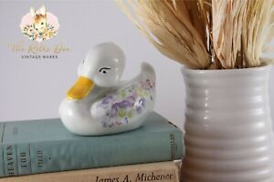 Vintage Bathroom Shabby Chic Cottage Core Floral Cotton Ball Duck