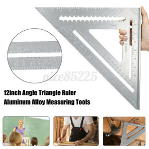 12in Aluminum Alloy Right Angle Triangle Ruler Protractor Framing Measuring $27.29