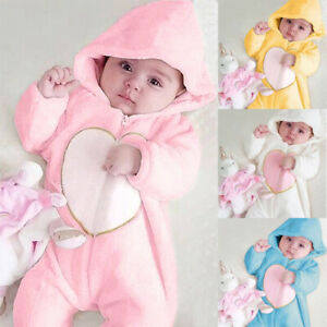 Newborn Baby Boy Girl Kids Heart Hooded Romper Jumpsuit Bodysuit Clothes Outfits $17.99
