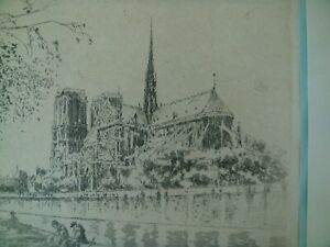 Henri Le Riche Noted French Artist Notre Dame etching signed $50.00