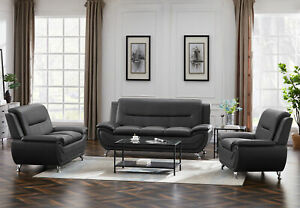3 Piece Living Room Sofa Set Loveseat Sofa Chair Couch Bed Dark Grey Furniture $1039.00