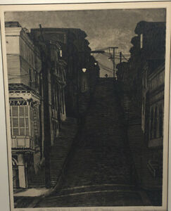 1962 San Francisco Hand Signed Numbered Etching By Rick Bersin Kearny Broadway $125.00