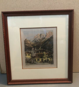 Vintage Lithograph Etching Print On Silk Signed H Leisch Professionally Framed $39.98