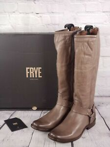Frye Wide Calf Leather Tall Shaft Boots Phillip Harness Grey 7.5 M