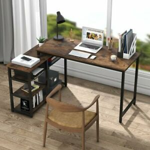 Industrial Office Desk with Shelf Sturdy Table Modern Furniture for Home Office $157.88