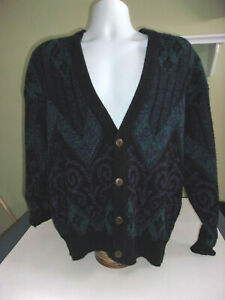 Vintage Robert Bruce Cardigan Sweater Mens Large Cosby 80s 90s $23.00