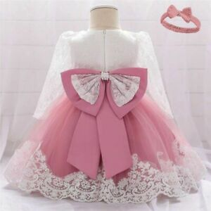 Baby Girl Dress Birthday Party Dresses Tutu Bow Long Sleeves Match Headband $14.88