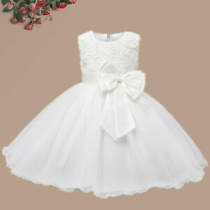 Baby Flower Girl Dress Princess Lace Tutu Bow Wedding Gown Party White Dresses