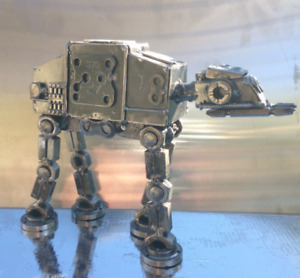 Hand Made Star Wars ATAT 10quot; Inches Recycled Scrap Metal Sculpture $95.00