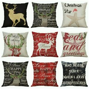 Christmas 18quot; Home Cover Deer Decor Cotton Linen Printing case Cushion pillow $3.16
