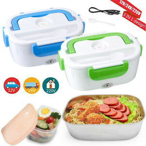 12V Portable Electric Heated Heating Lunch Box Bento For Car Travel Food Warmer $15.99