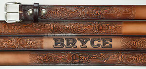 Wildlife Leather Name Belt Custom Engraved for Men and Women Made in USA