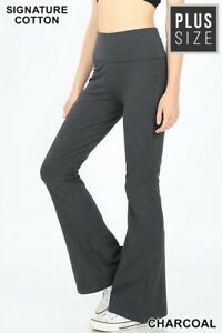 NWOT Womens Plus Size Yoga Flare Pants 1X 2X 3X NEW Charcoal Navy