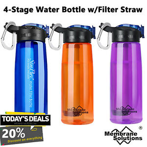 Outdoor Survival Water Filter Bottle Straw Purifier Emergency Hiking Backpacking $19.89
