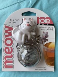 Joie Meow White Kitty Cat Tea Cup Infuser Stainless Steel Loose Tea Strainer $12.99