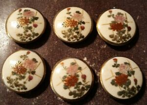 Set 6 Vintage SATSUMA JAPAN Ceramic Buttons 1 Handpainted Leaves c1940s