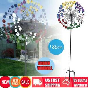 Colorful Metal Wind Spinner Stake Outdoor Lawn Yard Garden Home Windmill Decor $49.59