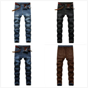 Mens Slim Fit Jeans Fleece Stretch Denim Pants Slim Skinny Casual Designer Jeans