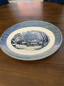 Currier Ives Blue White China Oval Serving Platter $40.00