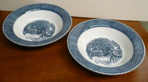 Currier and Ives quot;Home Sweet Homequot; Vegetable Serving Bowls Set of 2 $8.95
