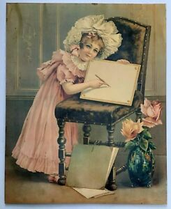 OLD ANTIQUE CHROMOLITHOGRAPH VICTORIAN GIRL WITH SKETCH PAD PRINTED IN GERMANY $45.00