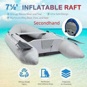 Secondhand 7.5Ft PVC Inflatable Fishing Boat withTender Raft with Aluminum Floor