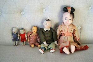 Lot of 5 Antique Vintage Hand Painted Bisque Oriental Asian Chinese Dolls $150.00
