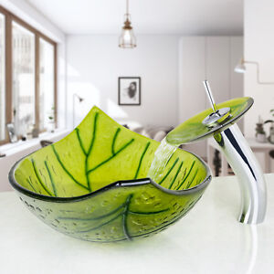 US Green one Leaf Bathroom Tempered Glass Vessel Sink Waterfall Faucet Set $89.99