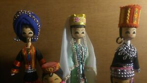 Rare Vintage Chinese Dolls Lot of 5 Wood Wooden Doll $25.00