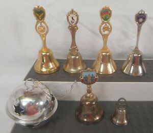 Lot of 7 Miniature Mini Metal Bells: Virginia Steamboat Chicago Houston StThomas