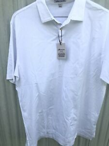 NWT Peter Millar Crown Ease Polo Shirt White Mens Size Large $89 $45.00
