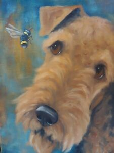 ORiginAL Oil Painting AIREDALE TERRIER BEE Portrait Hand Painted Whimsical $108.00