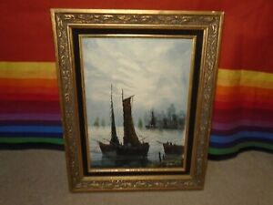 FINE VINTAGE FRAMED OIL PAINTING OF ASIAN SEAPORT SIGNED quot;ADRAINquot; $35.00