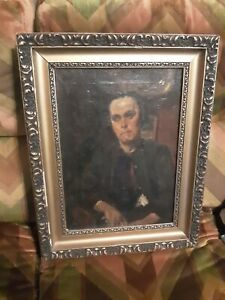 Antique Oil Painting portrait signed well done of woman in interior gold frame $225.00