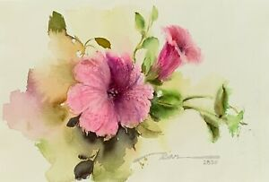 Pink Beauty 11quot; x 7quot; Original Watercolor Painting on Cotton Watercolor Paper  $25.00