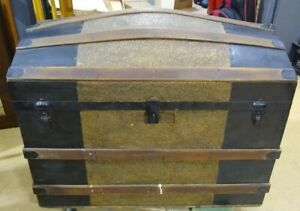 Large Antique Style Dome Top Wooden Storage Trunk $195.00