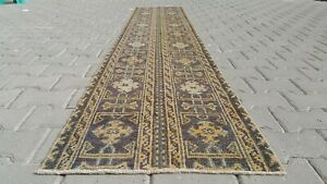 BLUE Turkish Hallway Runner 2x10ft Vintage Oushak Anatolian Handmade Wool Rug