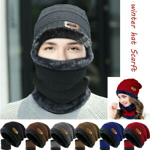 Winter Baggy Slouchy Knitted Warm Beanie Hat and Scarf Ski Skull Cap Mens Womens $10.97