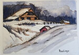 ACEO Original Watercolor and Ink Landscape 2.5quot; x 3.5quot; BarnSnowTreesFields $12.50