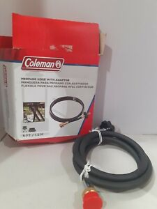 Camping Coleman Propane Hose with Adapter Black 5 Ft. Open box. Box damaged