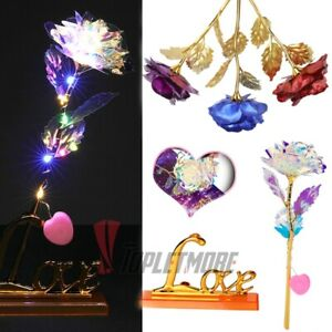 24K Foil Plated Long Stem Dipped Rose Flower Valentines Day Gift For Her or Mom