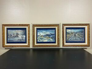 Set of 3 Hand Painted Oil Paintings Matted amp; Framed Signed Virgillo #x27;84? $74.95