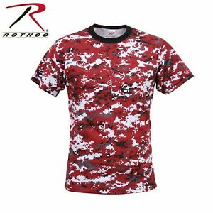 New T Shirt Military Digital Red Camo Short Sleeve Quality Rothco 5435 Military $9.99