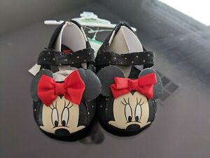 Minnie Mouse Baby Shoes Booties Infant 3 to 6 Months Black Red New $7.65