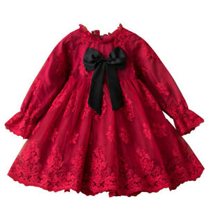 Baby Girl Lace Long Sleeves Tutu Dress Bow Kids Girls Christmas Party Costume $14.99