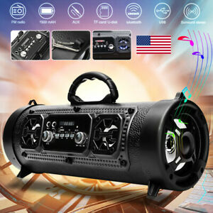 Portable Wireless Bluetooth Speaker Boombox Bass Stereo Cylinder SD FM Radio AUX $32.89