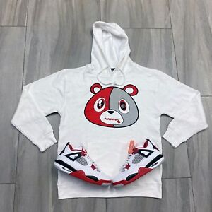 Hoodie to match Air Jordan Retro 4 Fire Red Sneakers. E Bear Fire Red Hoodie $52.00
