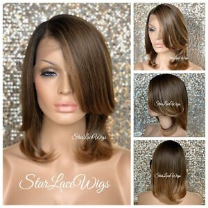 Lace Front Wig Bob Straight Ombre Auburn Brown Synthetic Side Part Heat Safe Ok $64.45