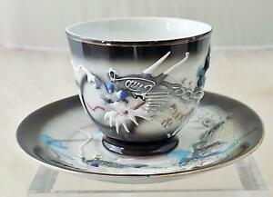 Vintage Japanese Dragonware Lithophane GEISHA Cup Saucer Black and White