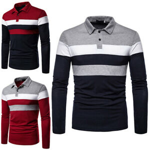 Mens Polo Shirts Tee Tops Designer Long Sleeve Muscle Golf Work Blouse T Shirt